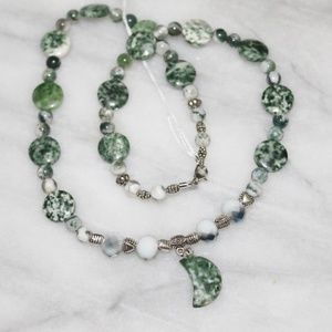 Natural Tree Agate Gemstone Moon Pendant Necklace